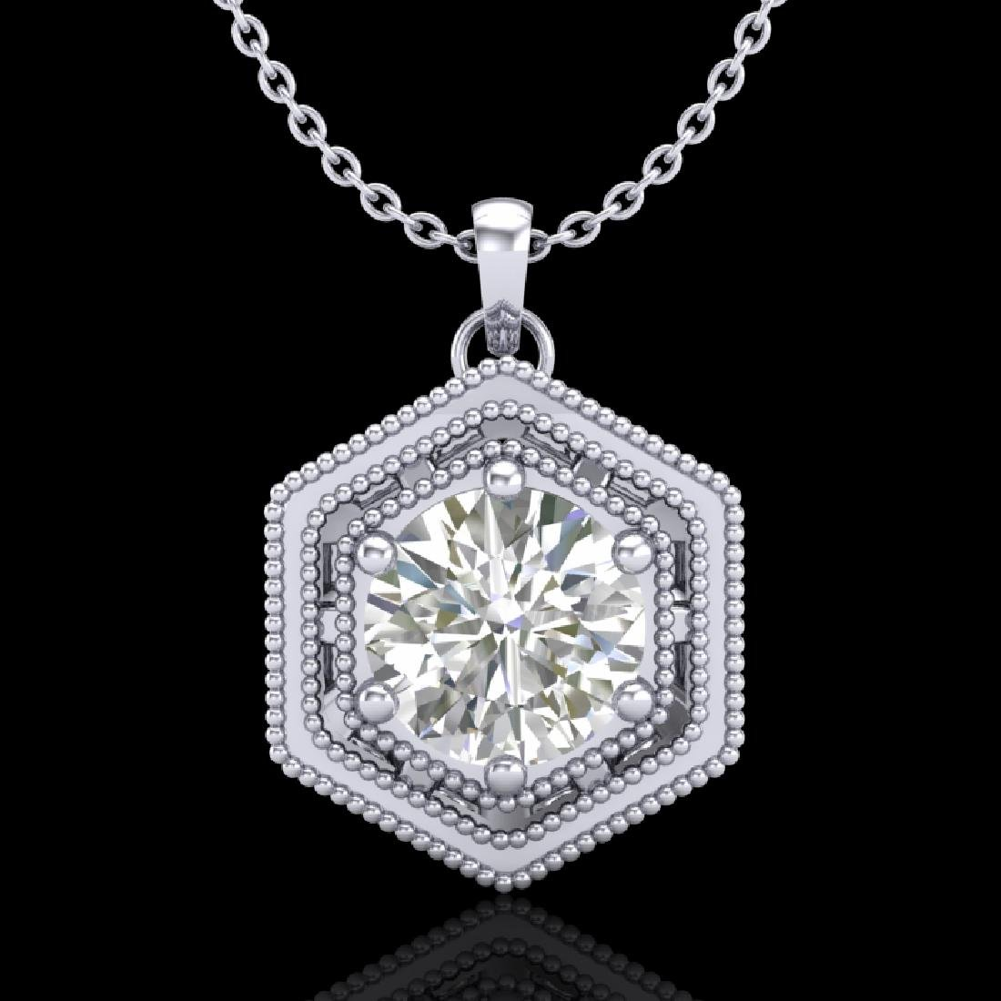 0.76 CTW VS/SI Diamond Solitaire Art Deco Stud Necklace