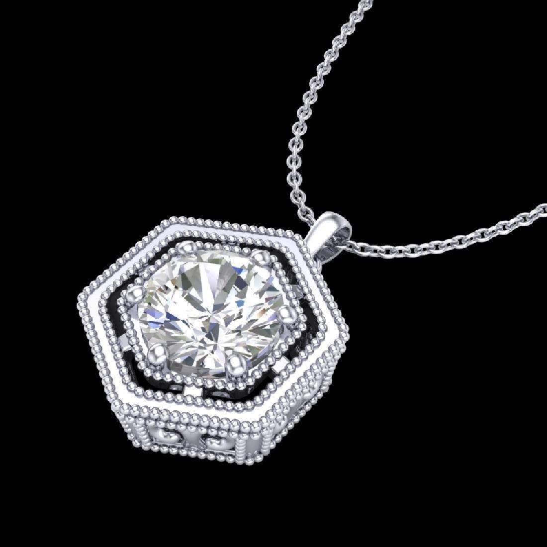 0.76 CTW VS/SI Diamond Solitaire Art Deco Stud Necklace - 2