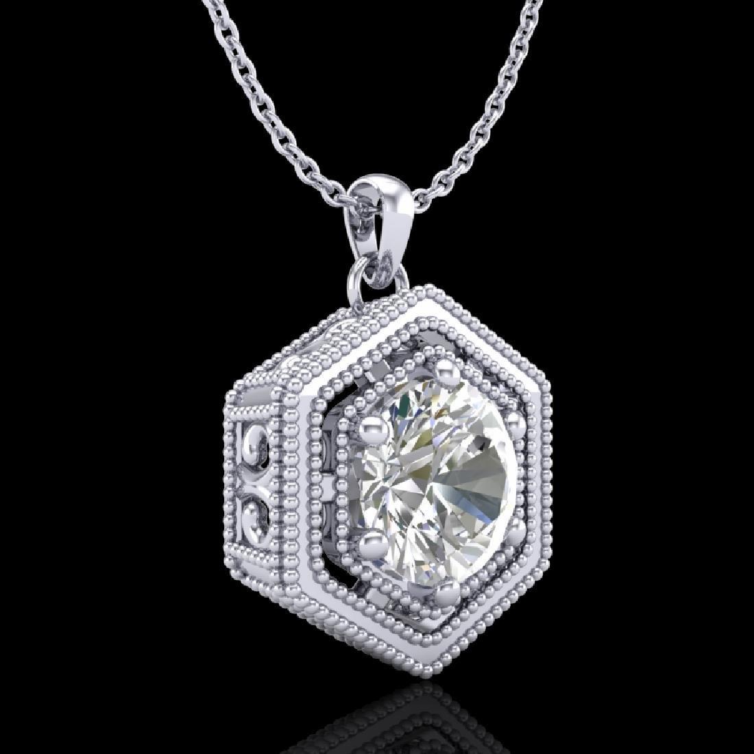 0.76 CTW VS/SI Diamond Solitaire Art Deco Stud Necklace - 3