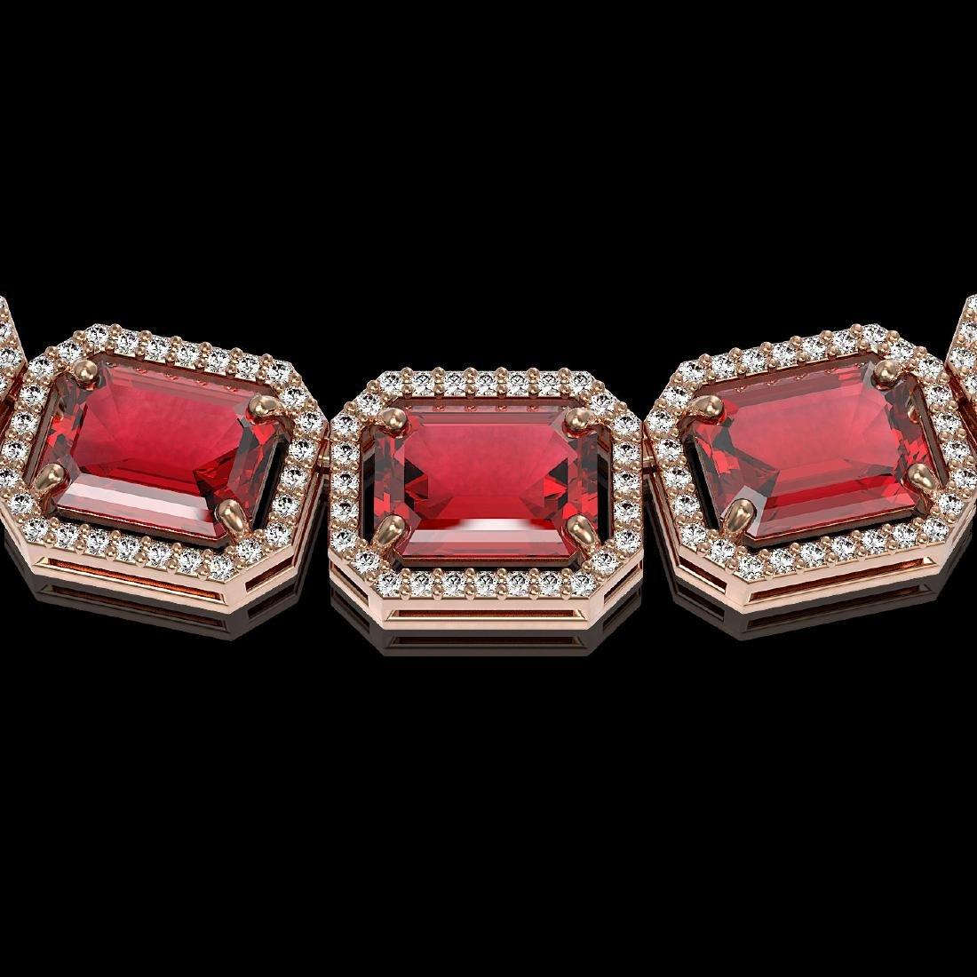 80.32 CTW Tourmaline & Diamond Halo Necklace 10K Rose - 3