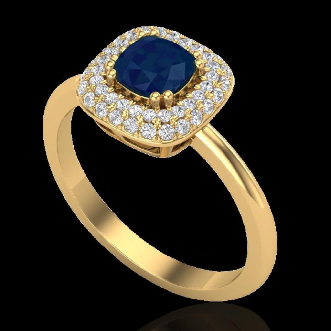 1.16 CTW Sapphire & Micro VS/SI Diamond Ring Double - 2