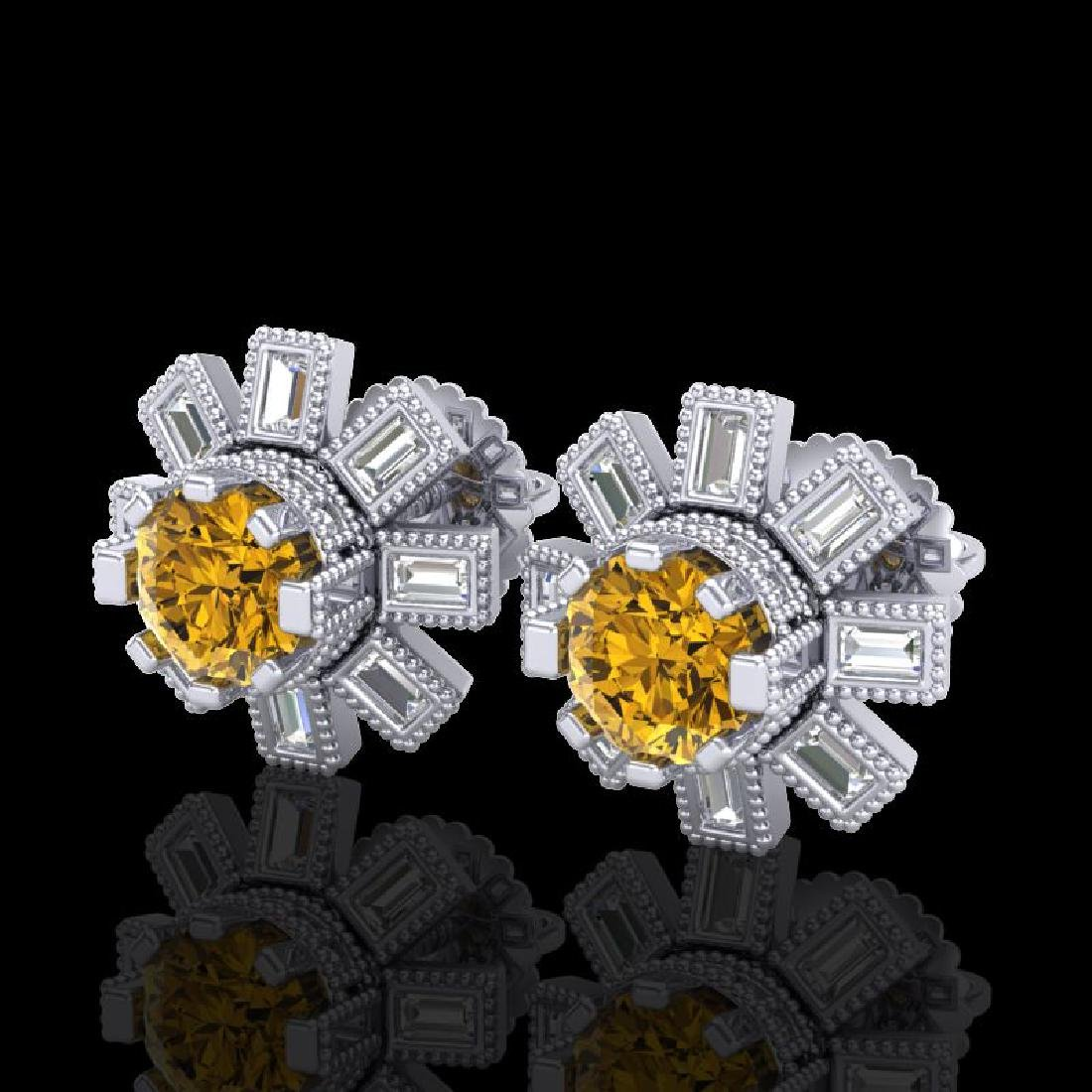 1.77 CTW Intense Fancy Yellow Diamond Art Deco Stud