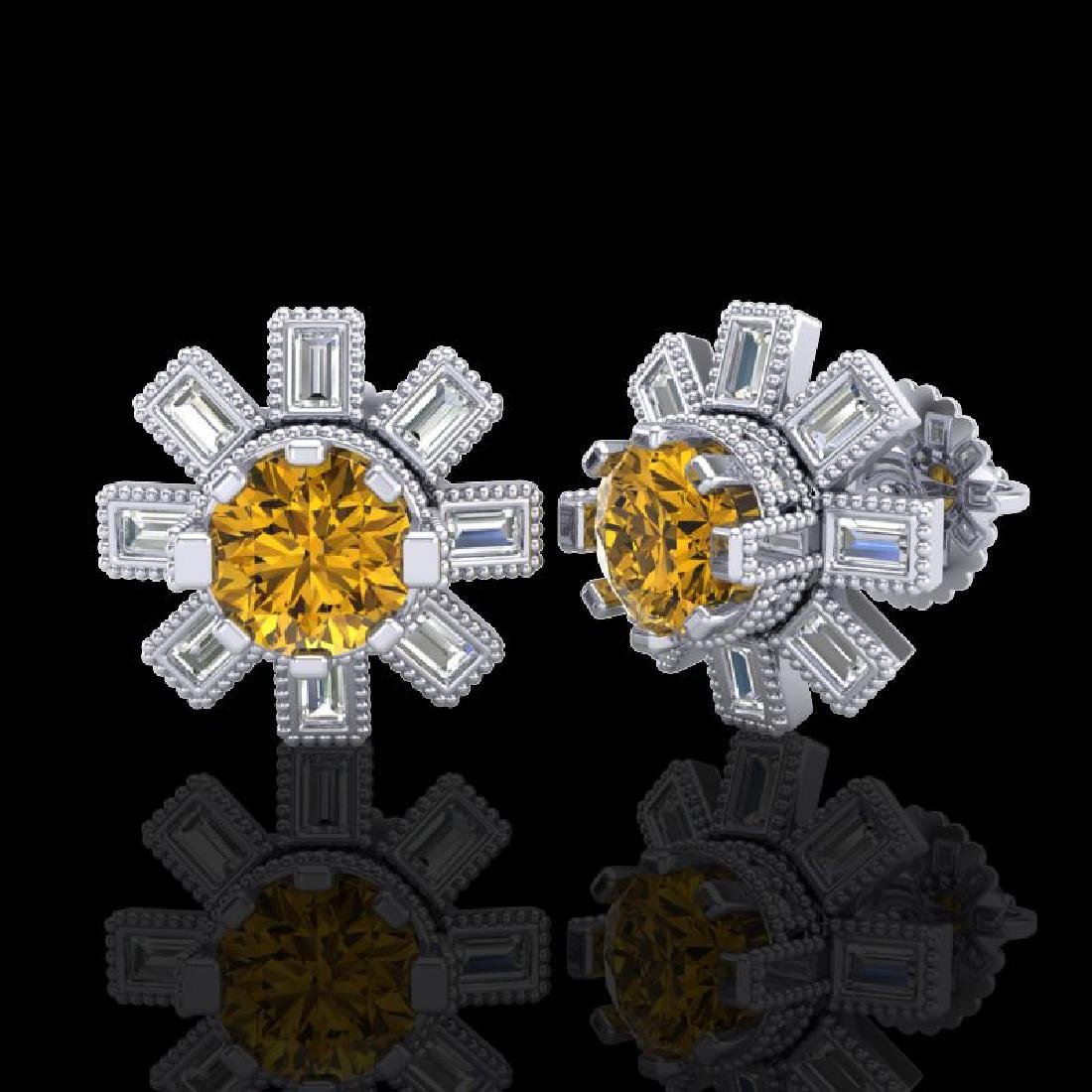 1.77 CTW Intense Fancy Yellow Diamond Art Deco Stud - 2