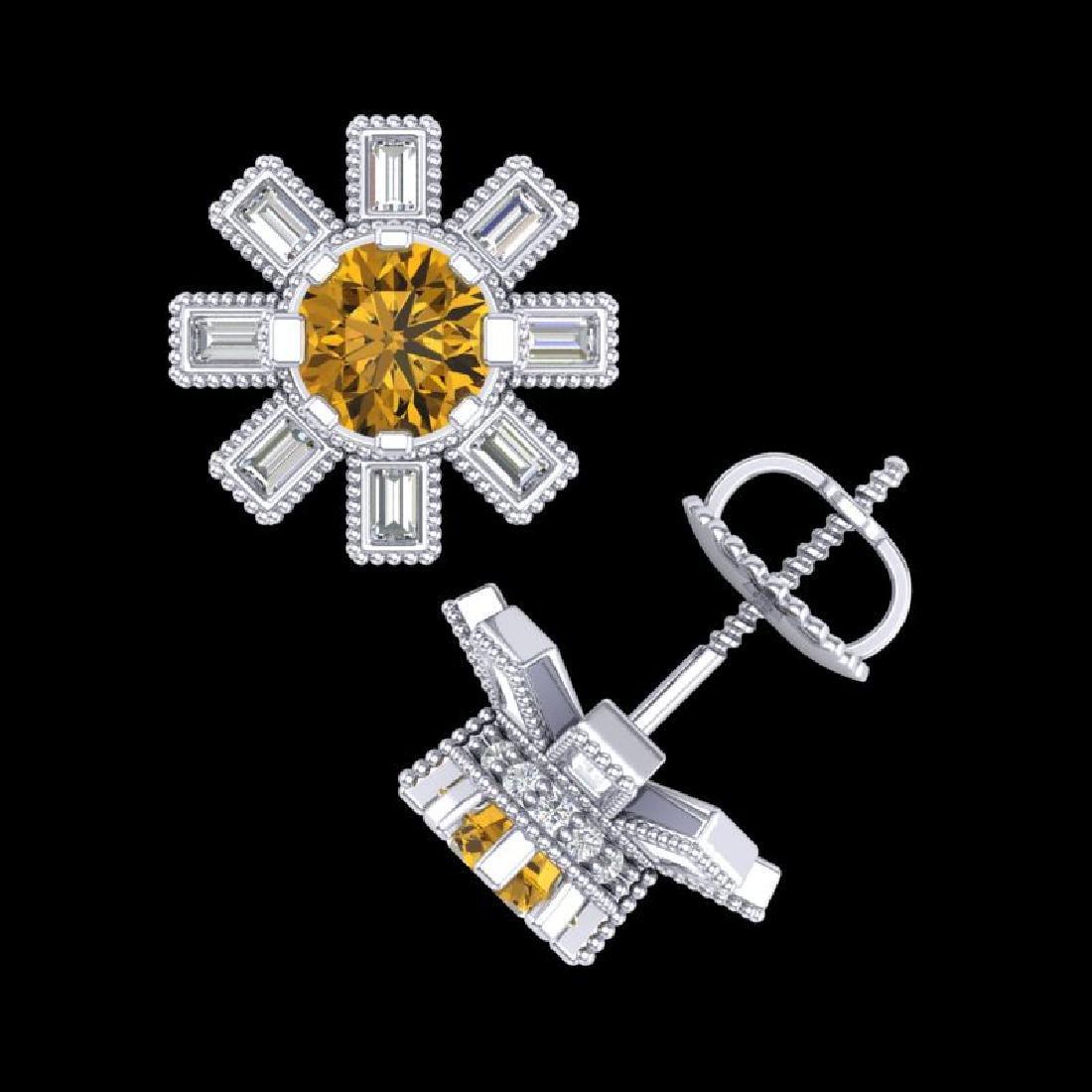 1.77 CTW Intense Fancy Yellow Diamond Art Deco Stud - 3