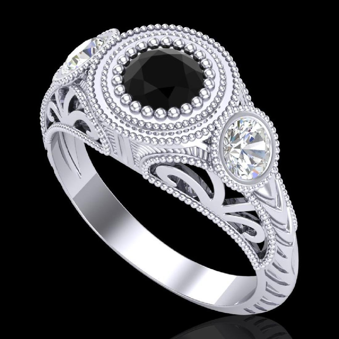 1.06 CTW Fancy Black Diamond Solitaire Art Deco 3 Stone