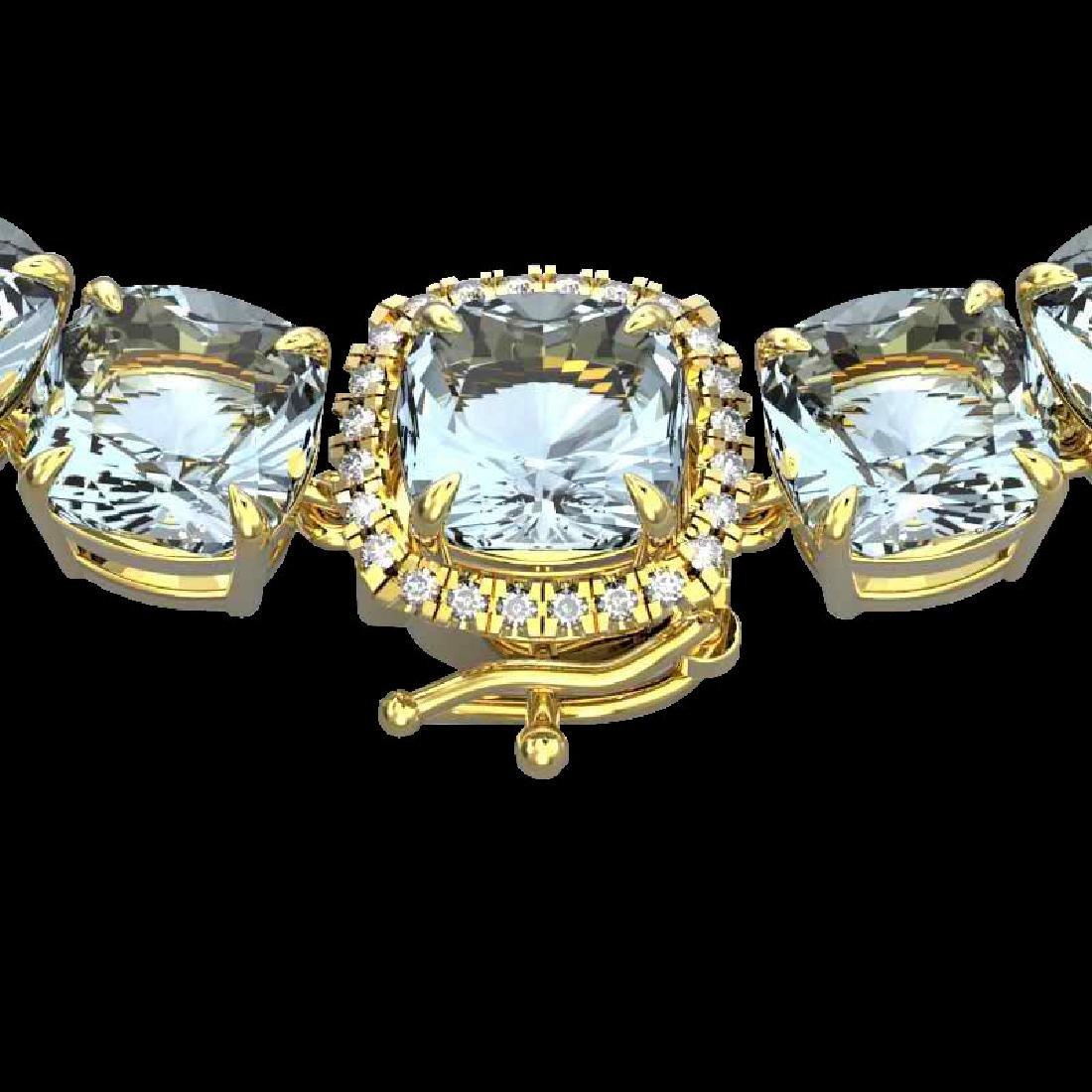 87 CTW Aquamarine & VS/SI Diamond Halo Micro Necklace
