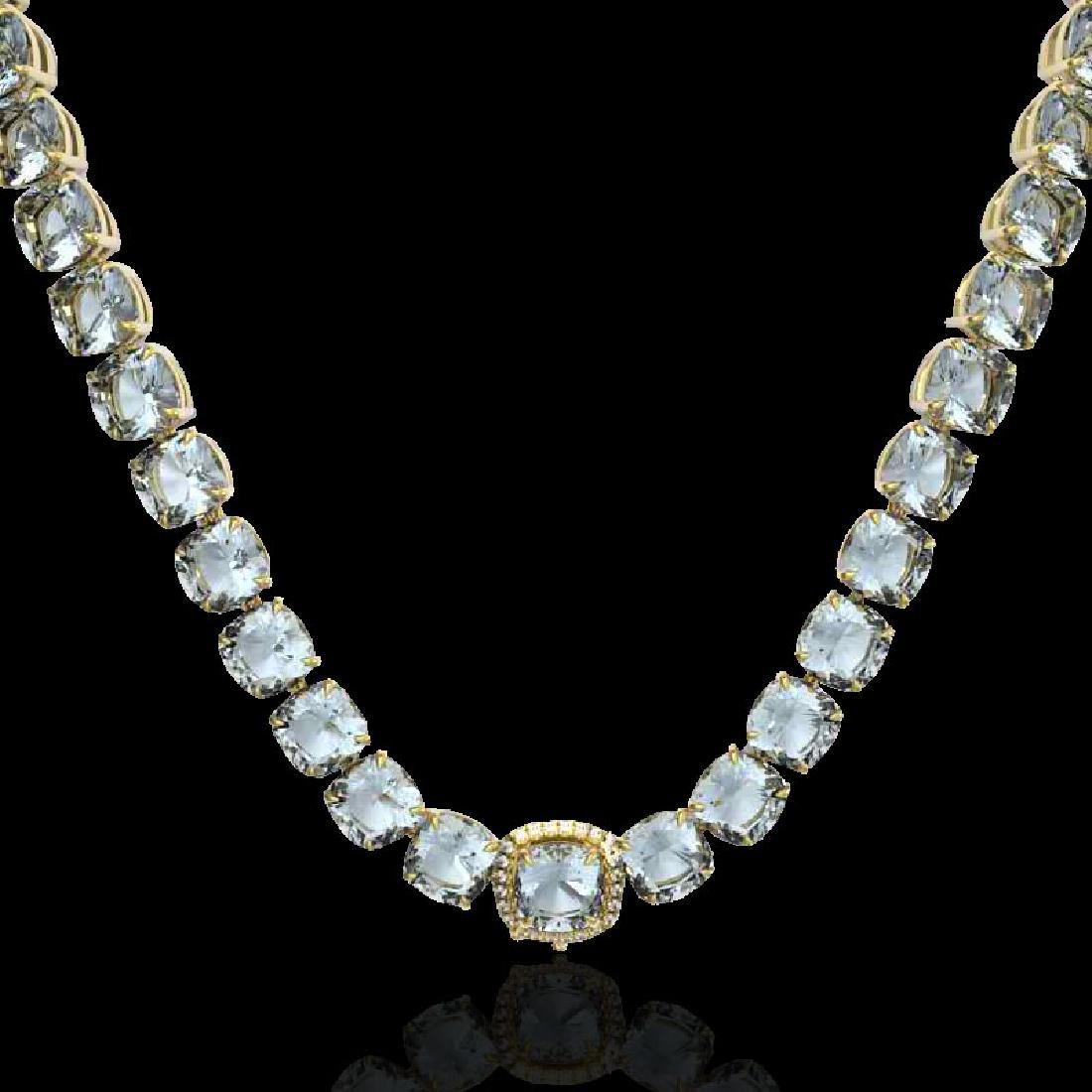 87 CTW Aquamarine & VS/SI Diamond Halo Micro Necklace - 2