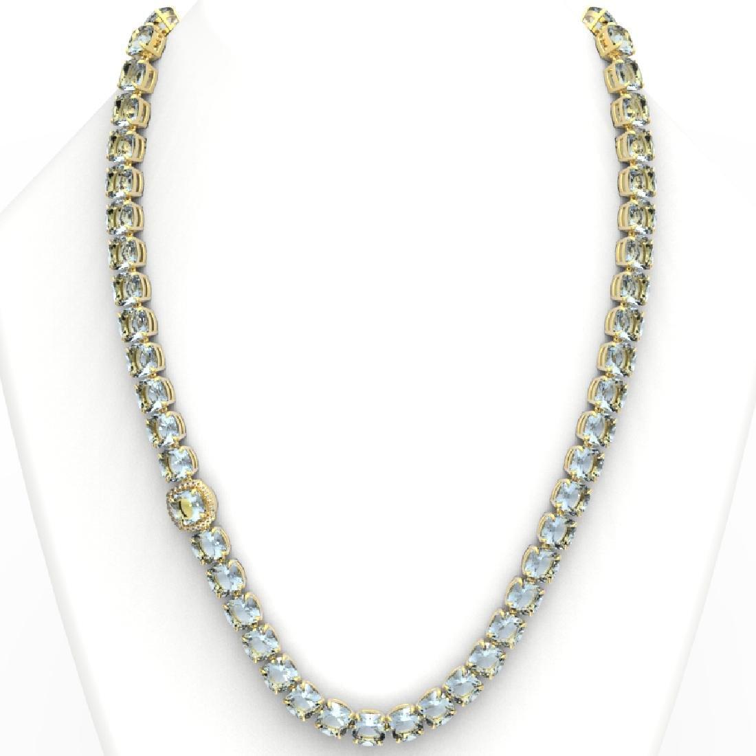 87 CTW Aquamarine & VS/SI Diamond Halo Micro Necklace - 3