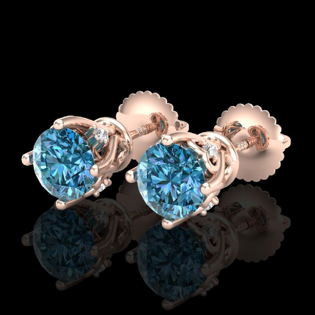 1.26 CTW Fancy Intense Blue Diamond Art Deco Stud