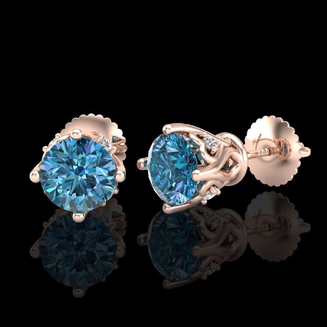 1.26 CTW Fancy Intense Blue Diamond Art Deco Stud - 2