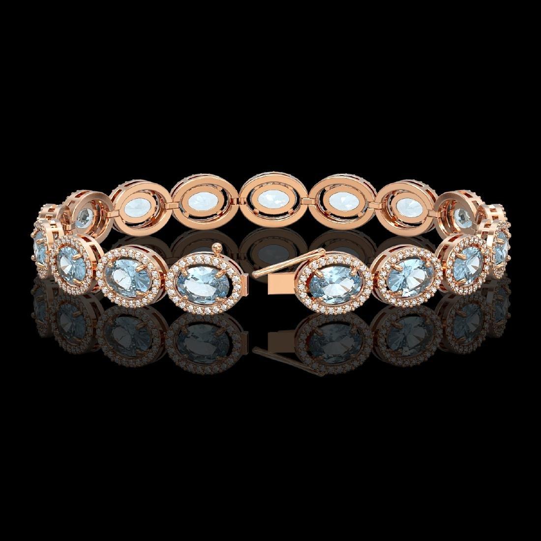 24.32 CTW Sky Topaz & Diamond Halo Bracelet 10K Rose - 2