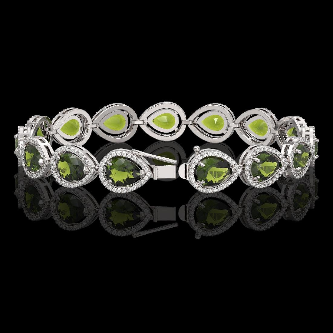 19.7 CTW Tourmaline & Diamond Halo Bracelet 10K White - 2
