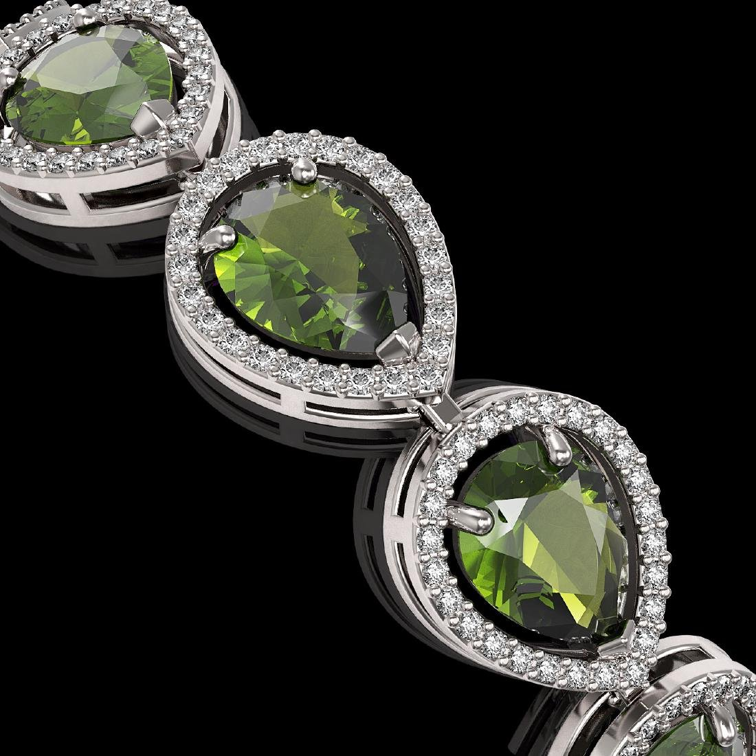 19.7 CTW Tourmaline & Diamond Halo Bracelet 10K White - 3