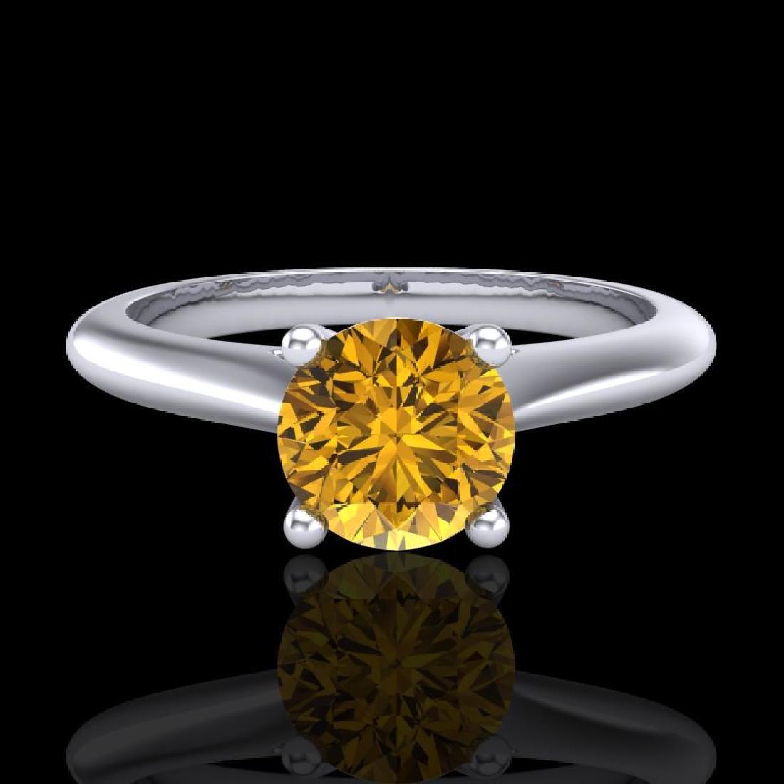 0.83 CTW Intense Fancy Yellow Diamond Engagement Art - 2
