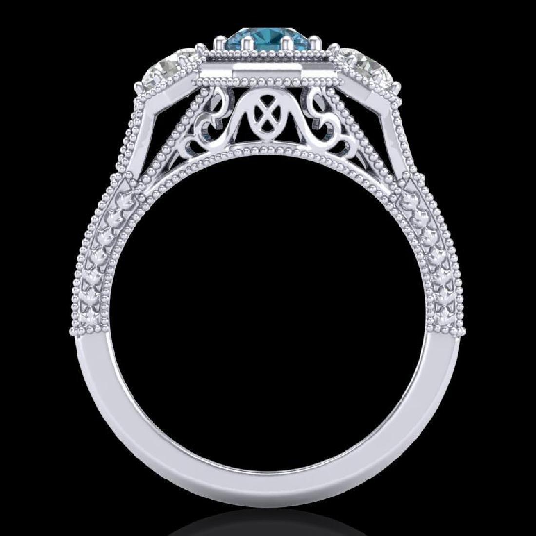 1.05 CTW Intense Blue Diamond Solitaire Art Deco 3 - 3