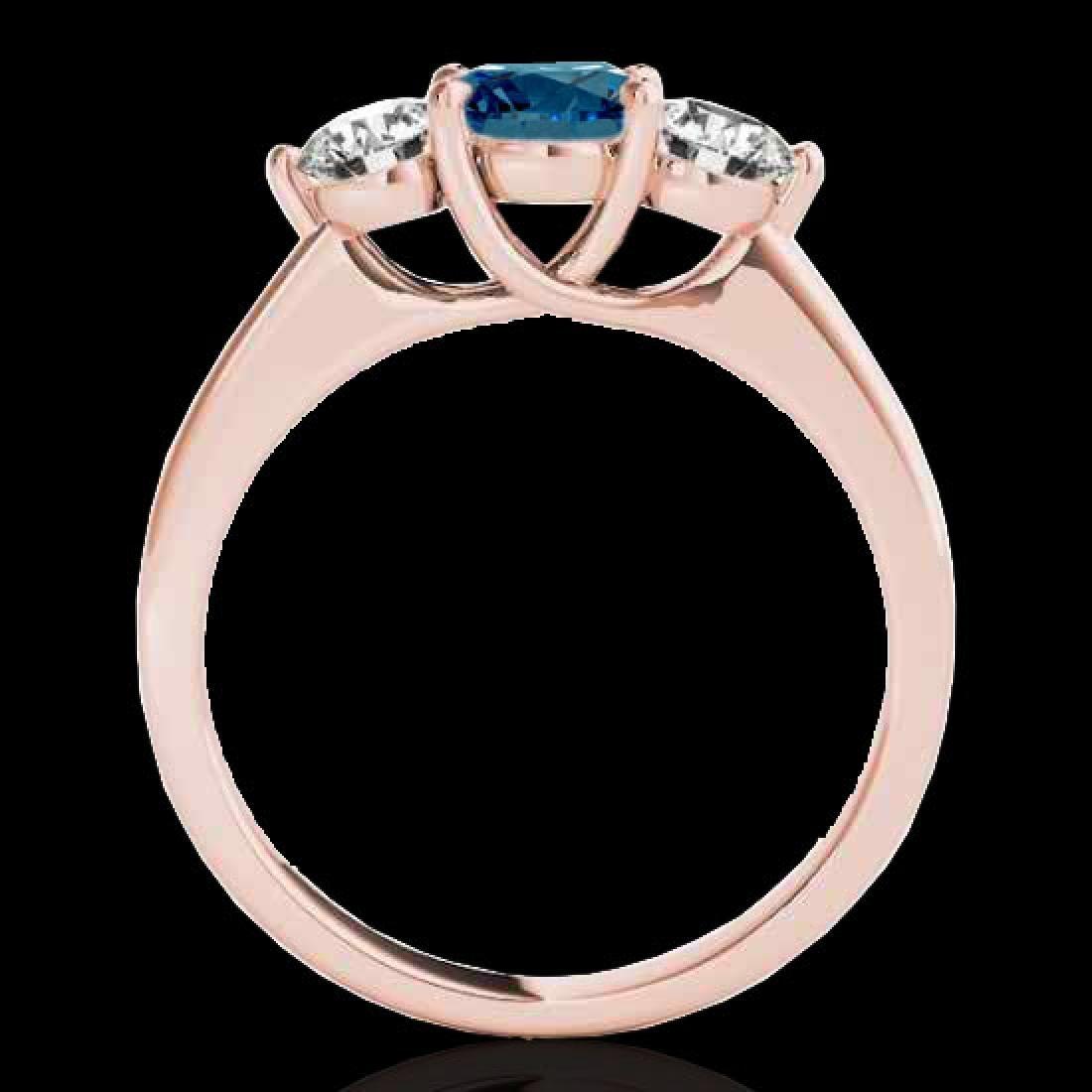 2 CTW SI Certified Fancy Blue Diamond 3 Stone Solitaire - 2