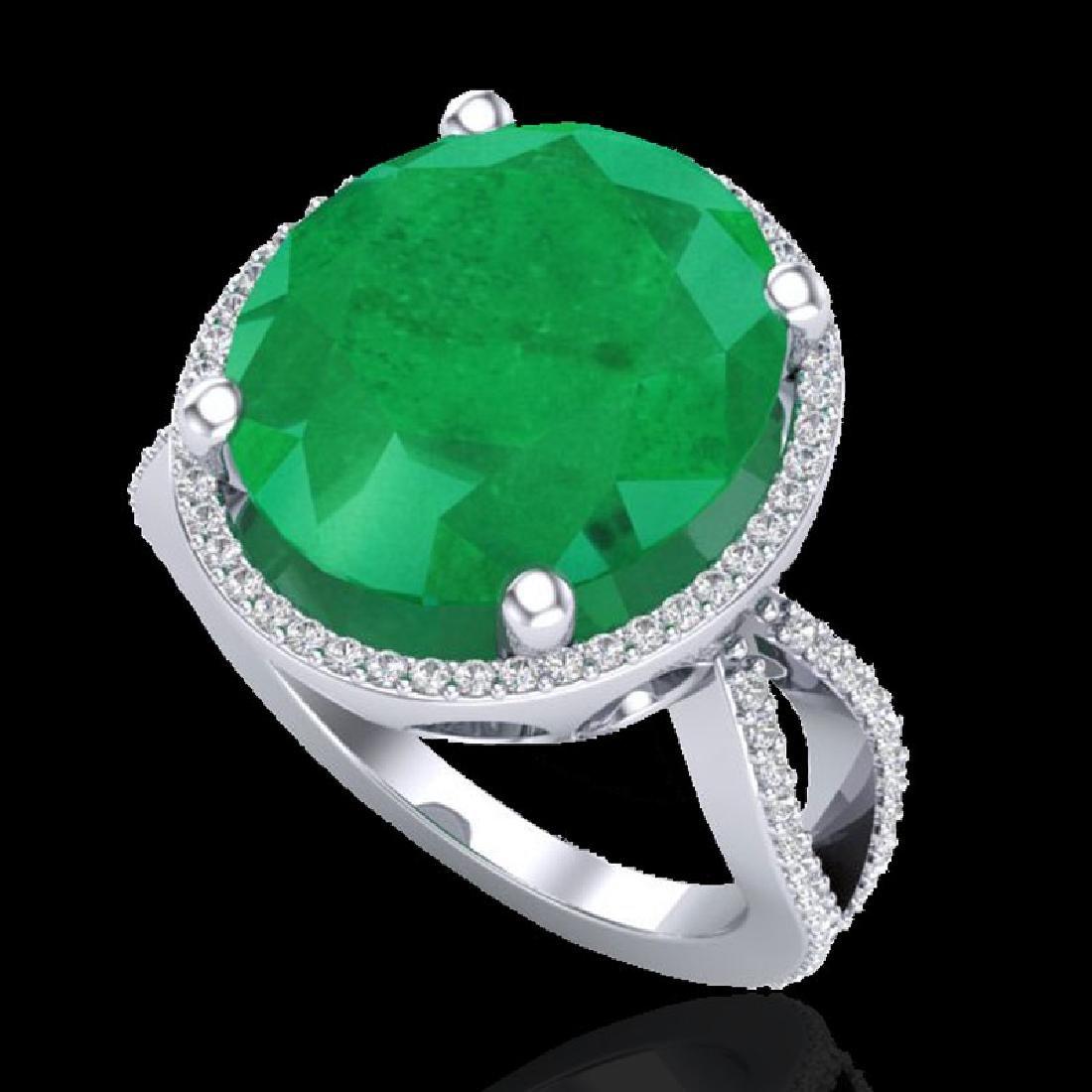 12 CTW Emerald & Micro Pave VS/SI Diamond Halo Ring 18K - 2