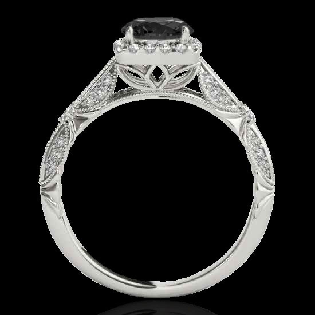 1.36 CTW Certified VS Black Diamond Solitaire Halo Ring - 2