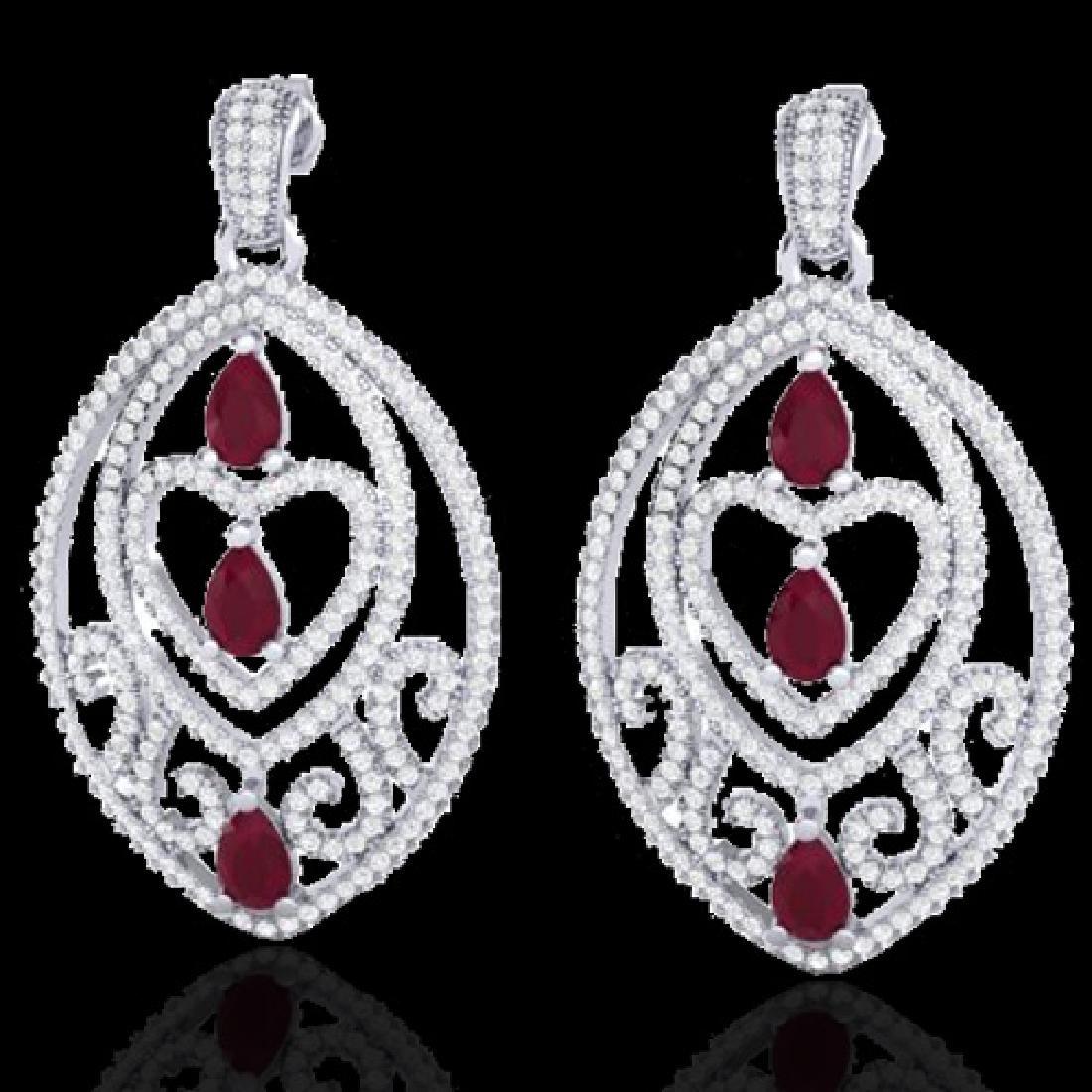 7 CTW Ruby & Micro Pave VS/SI Diamond Heart Earrings