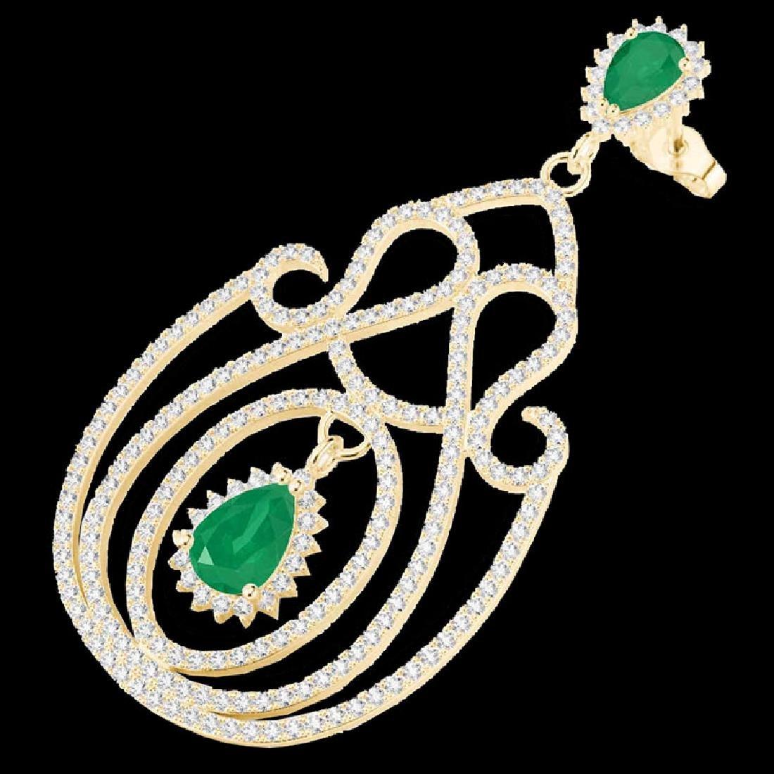 6.40 CTW Emerald & Micro Pave VS/SI Diamond Earrings
