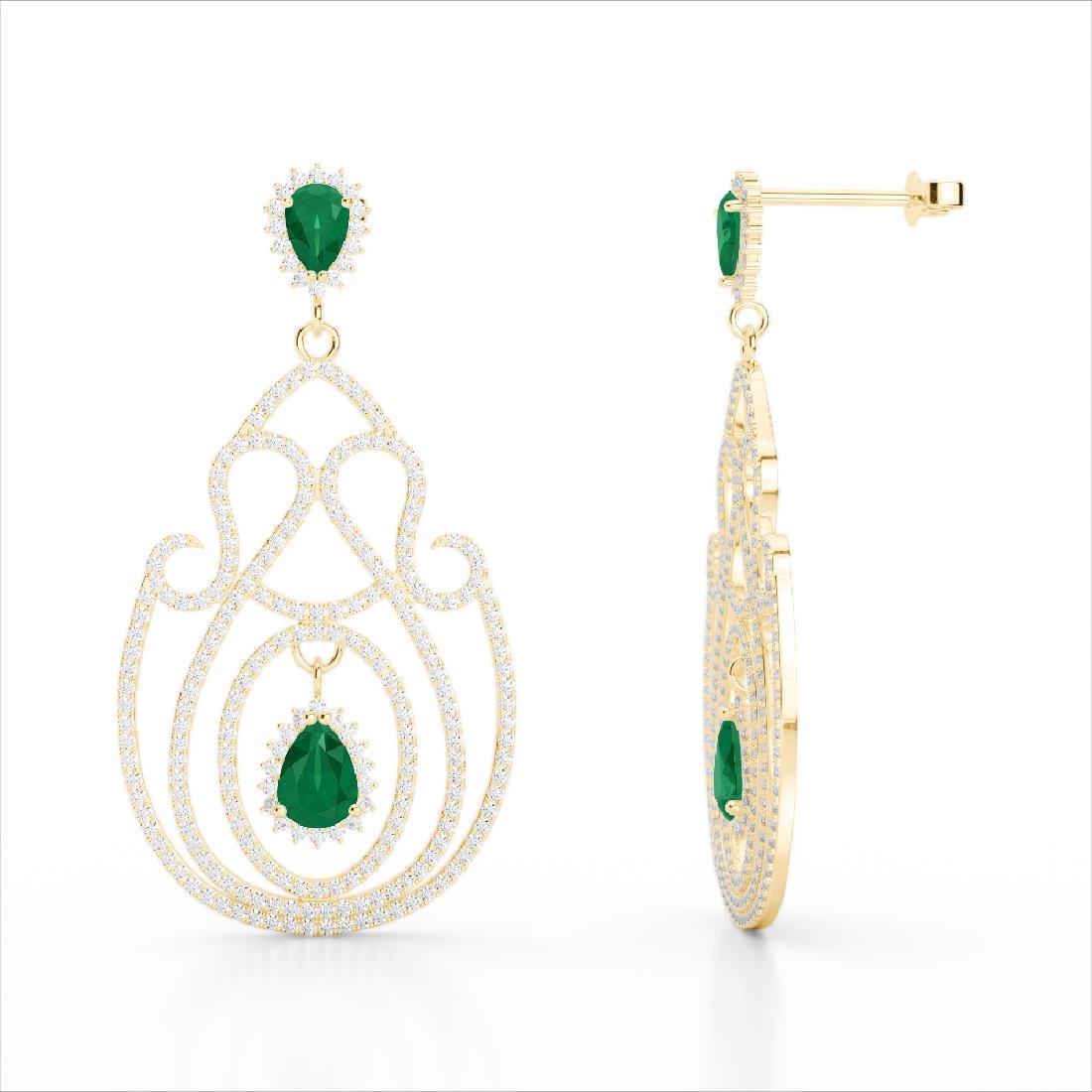 6.40 CTW Emerald & Micro Pave VS/SI Diamond Earrings - 3