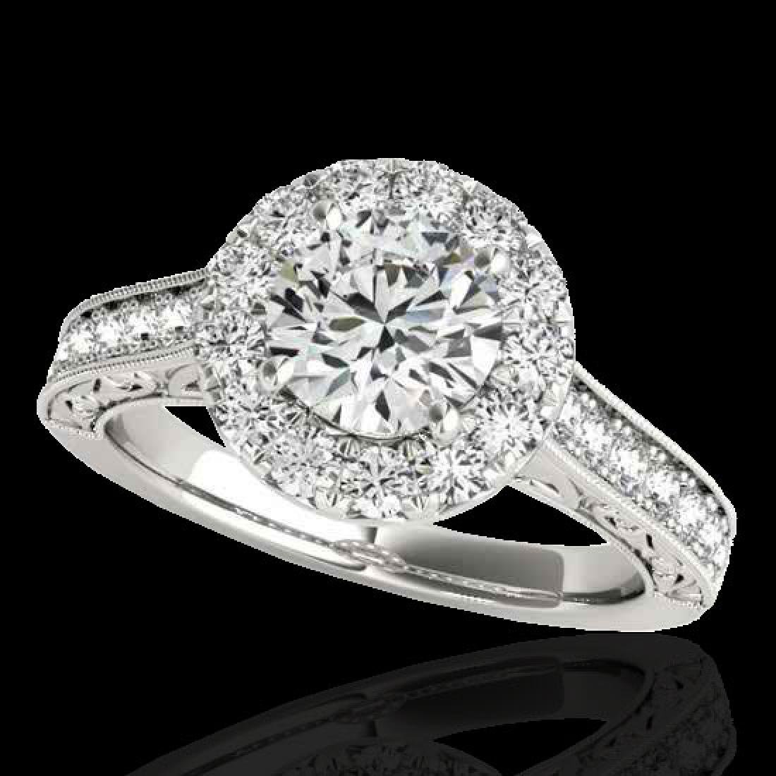 2.22 CTW H-SI/I Certified Diamond Solitaire Halo Ring