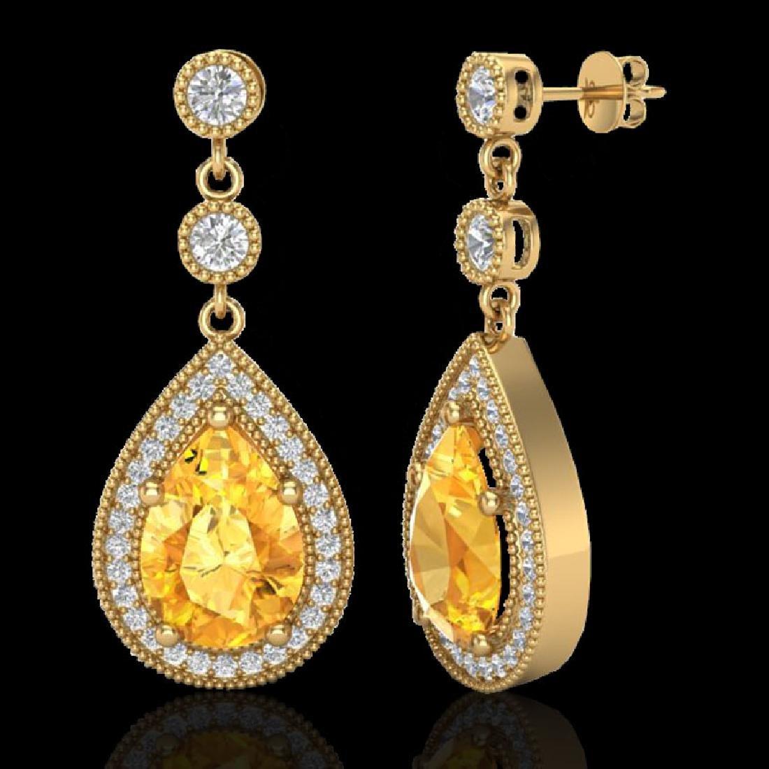 4.50 CTW Citrine & Micro VS/SI Diamond Earrings - 2