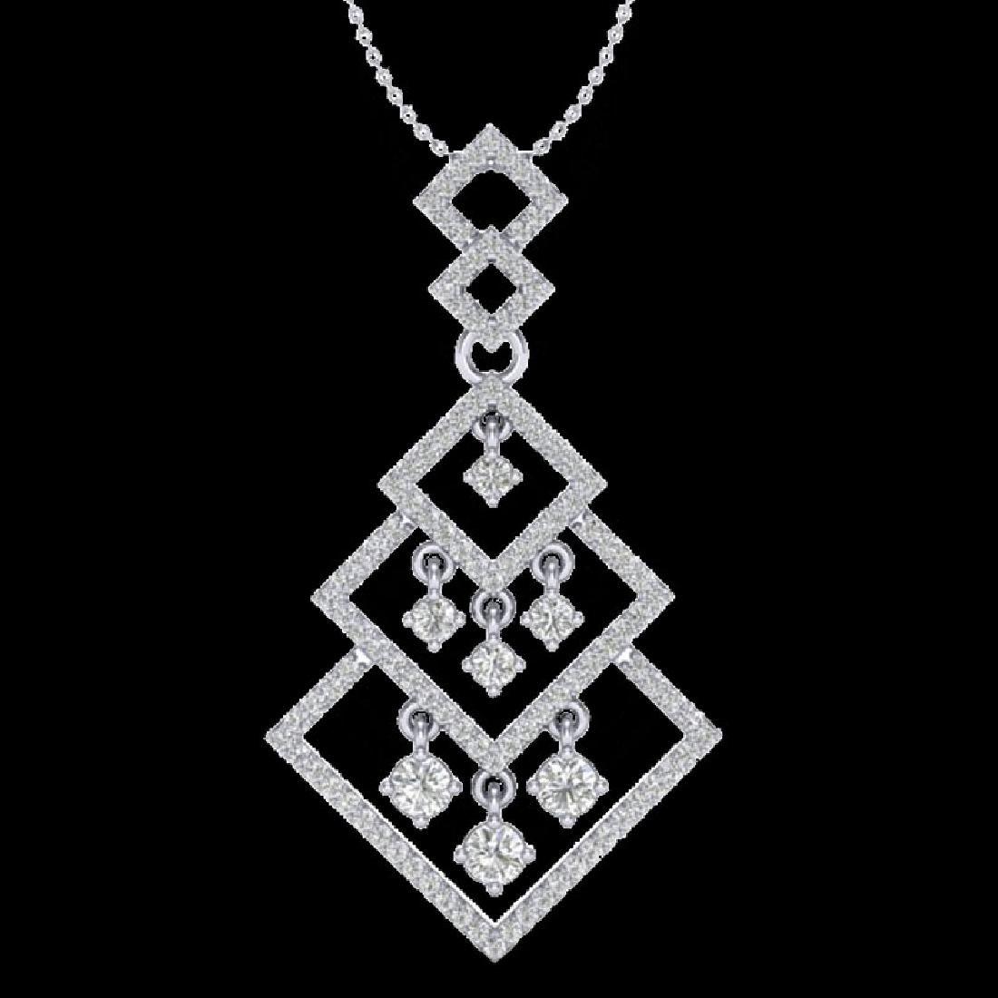 1.50 CTW Micro Pave VS/SI Diamond Necklace Dangling 14K - 2