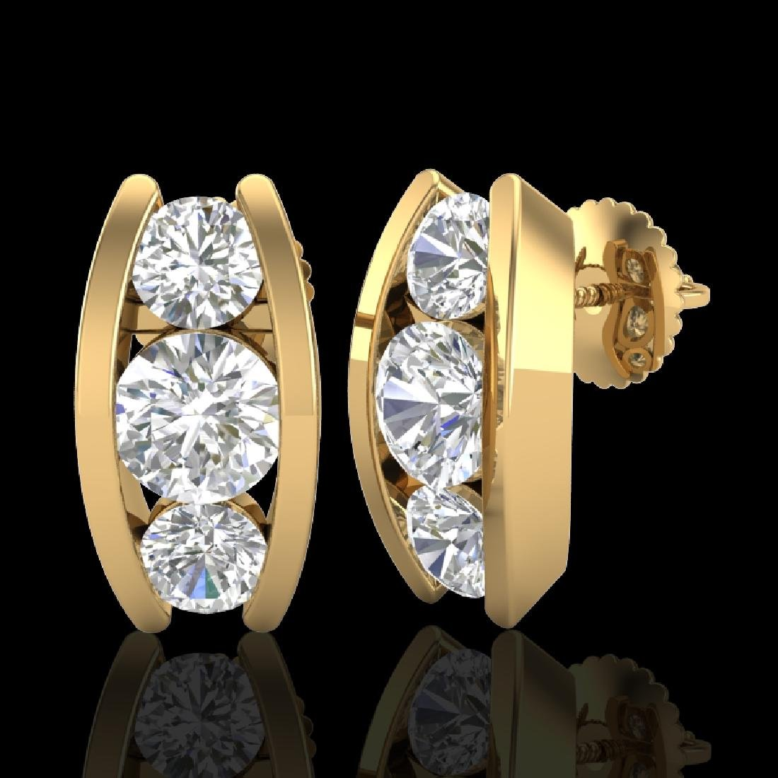 2.18 CTW VS/SI Diamond Solitaire Art Deco Stud Earrings - 2