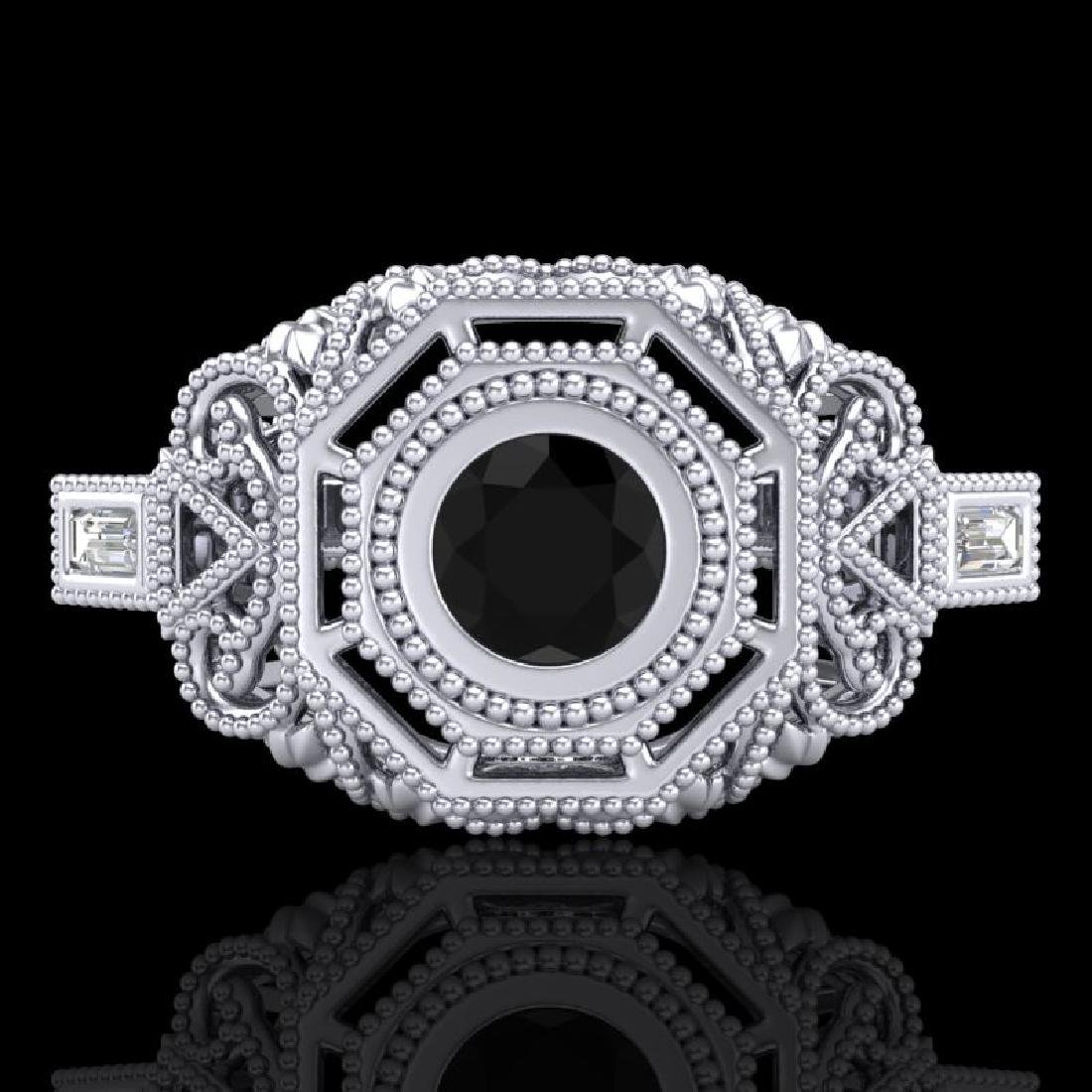 0.75 CTW Fancy Black Diamond Solitaire Engagement Art - 2