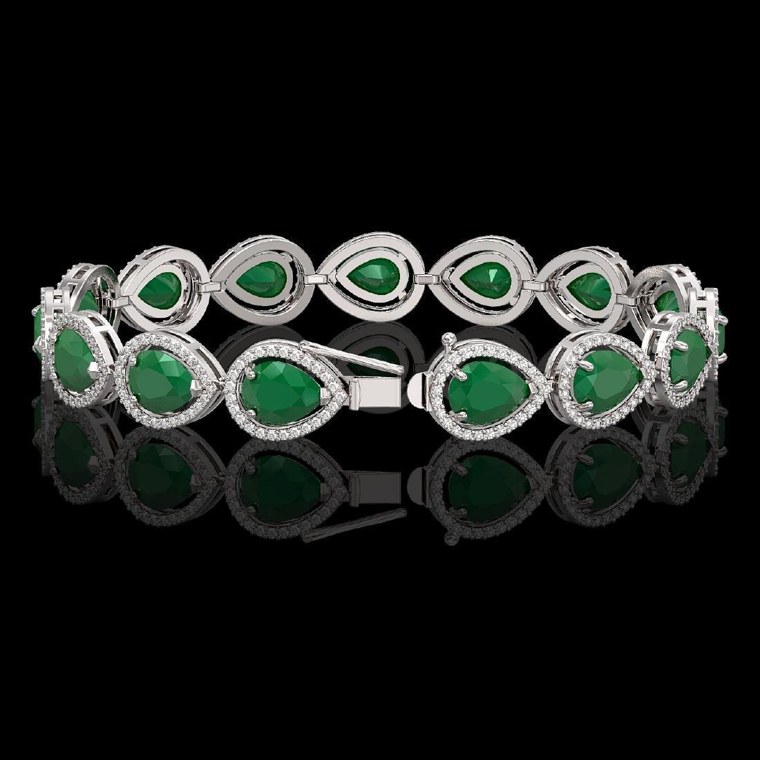 30.06 CTW Emerald & Diamond Halo Bracelet 10K White - 2