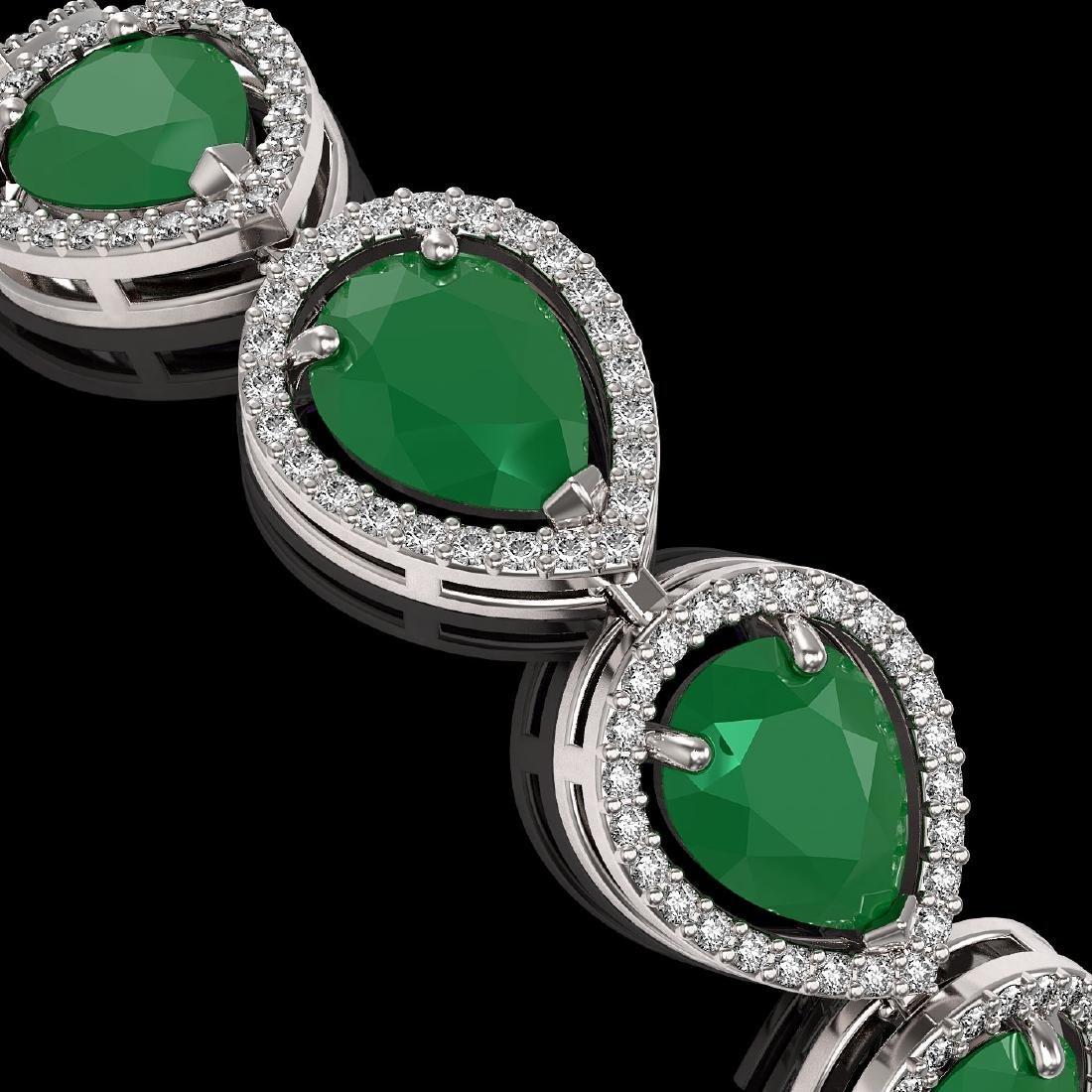 30.06 CTW Emerald & Diamond Halo Bracelet 10K White - 3