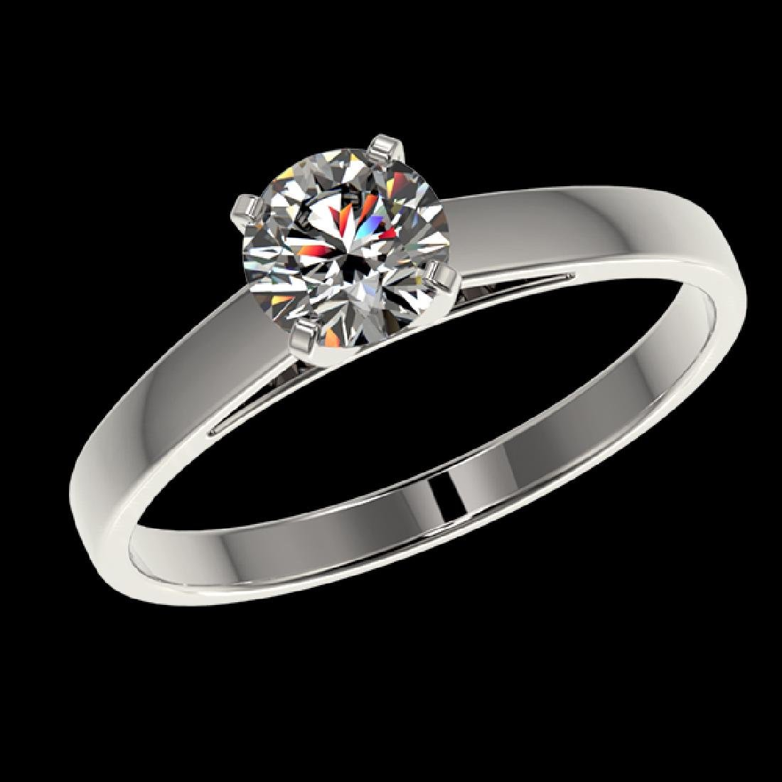 0.78 CTW Certified H-SI/I Quality Diamond Solitaire - 2