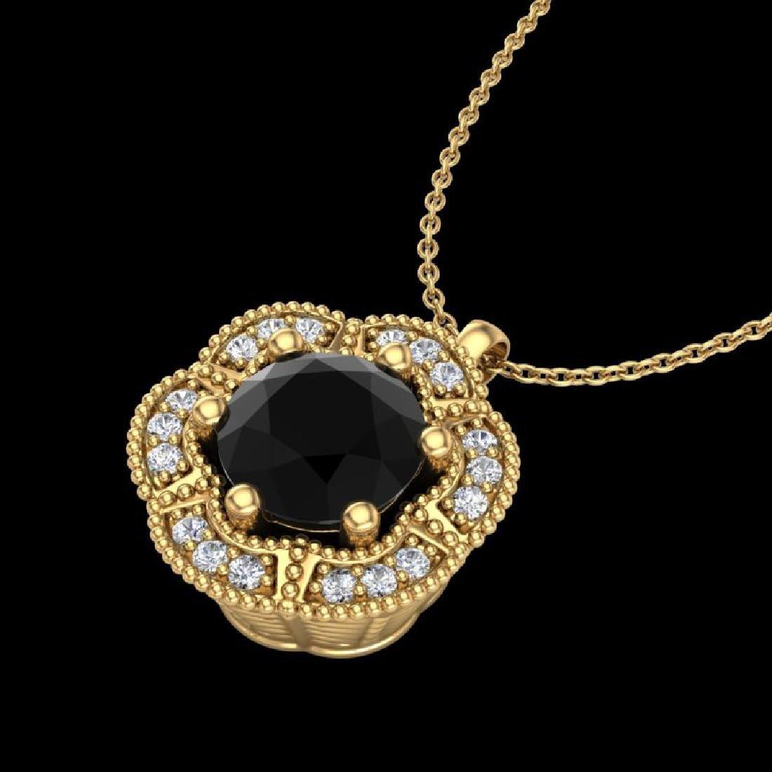 1.01 CTW Fancy Black Diamond Solitaire Art Deco Stud - 2
