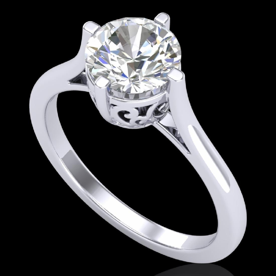 1.25 CTW VS/SI Diamond Solitaire Art Deco Ring 18K