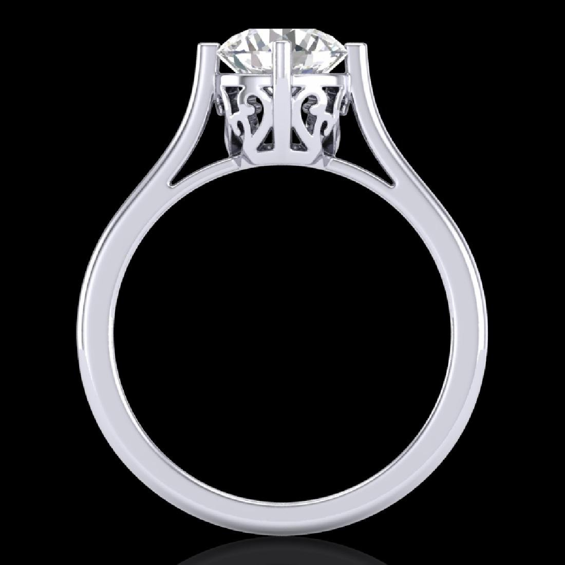 1.25 CTW VS/SI Diamond Solitaire Art Deco Ring 18K - 3