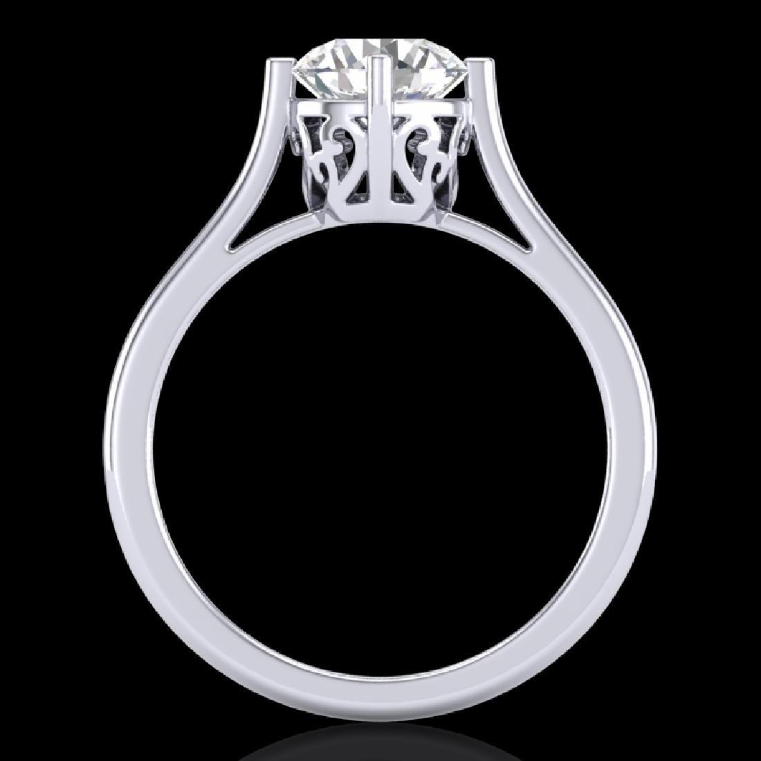 1.25 CTW VS/SI Diamond Solitaire Art Deco Ring 18K - 3