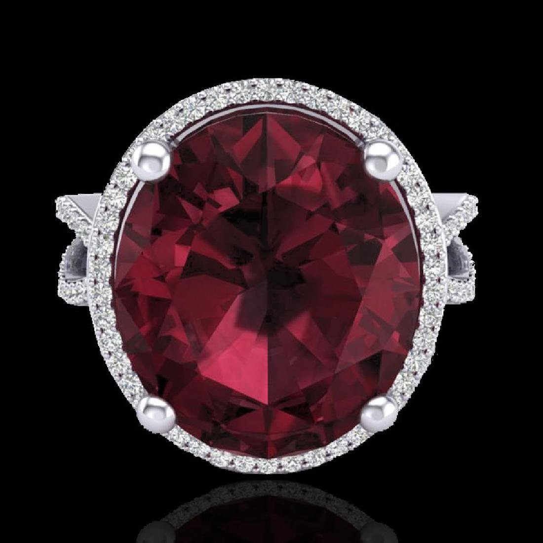 10 CTW Garnet & Micro Pave VS/SI Diamond Halo Ring 18K