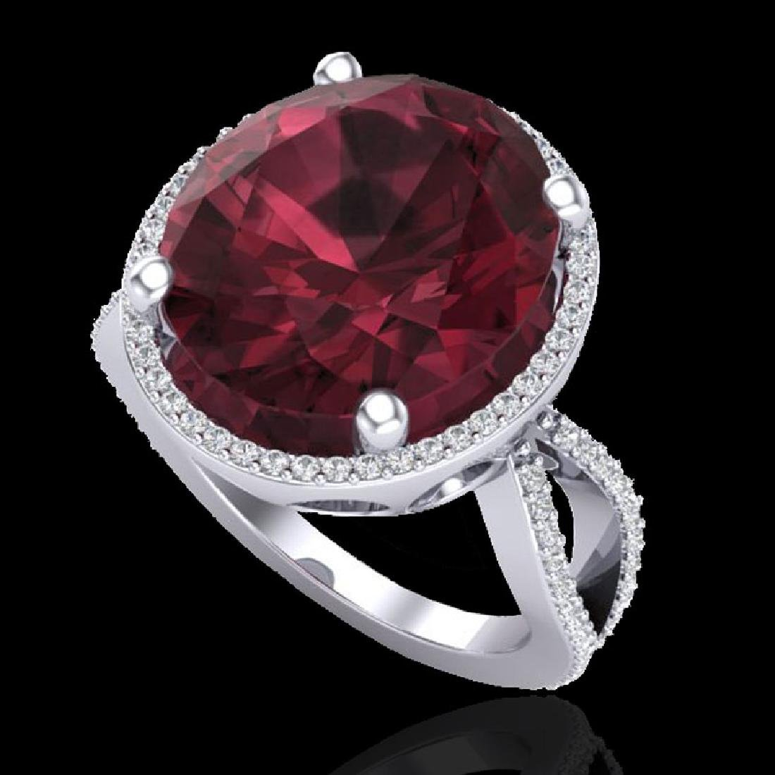 10 CTW Garnet & Micro Pave VS/SI Diamond Halo Ring 18K - 2