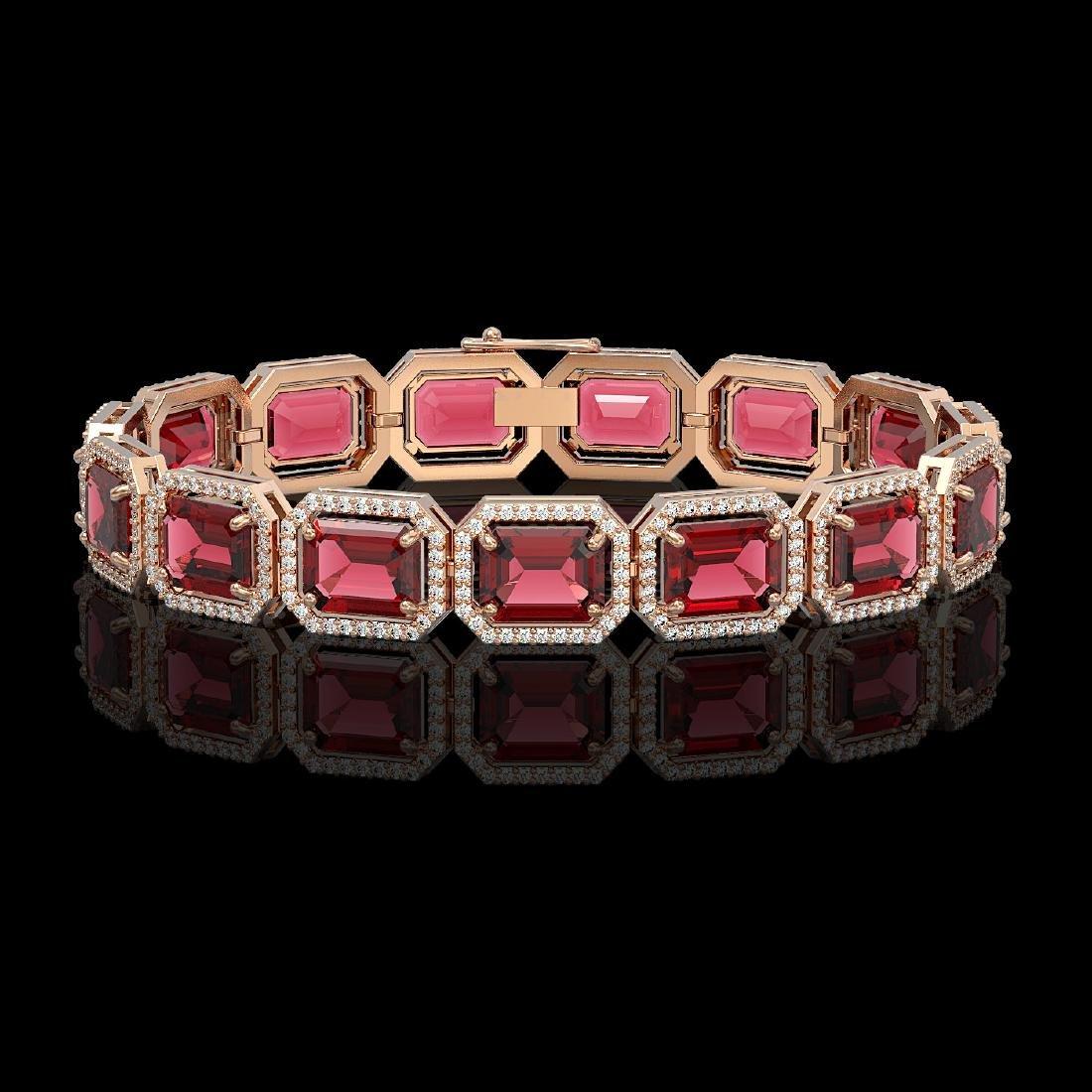 36.51 CTW Tourmaline & Diamond Halo Bracelet 10K Rose