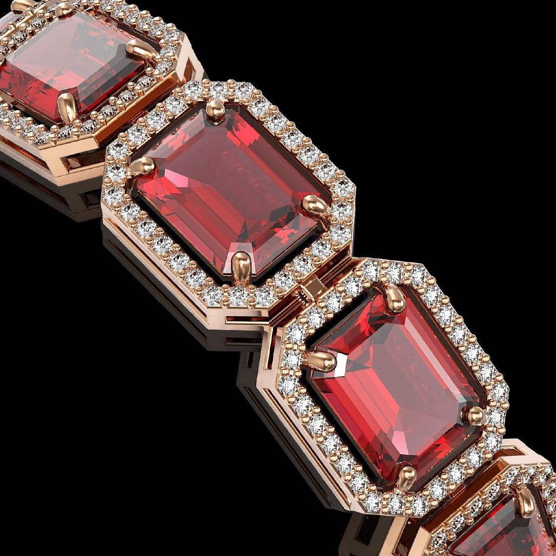 36.51 CTW Tourmaline & Diamond Halo Bracelet 10K Rose - 3