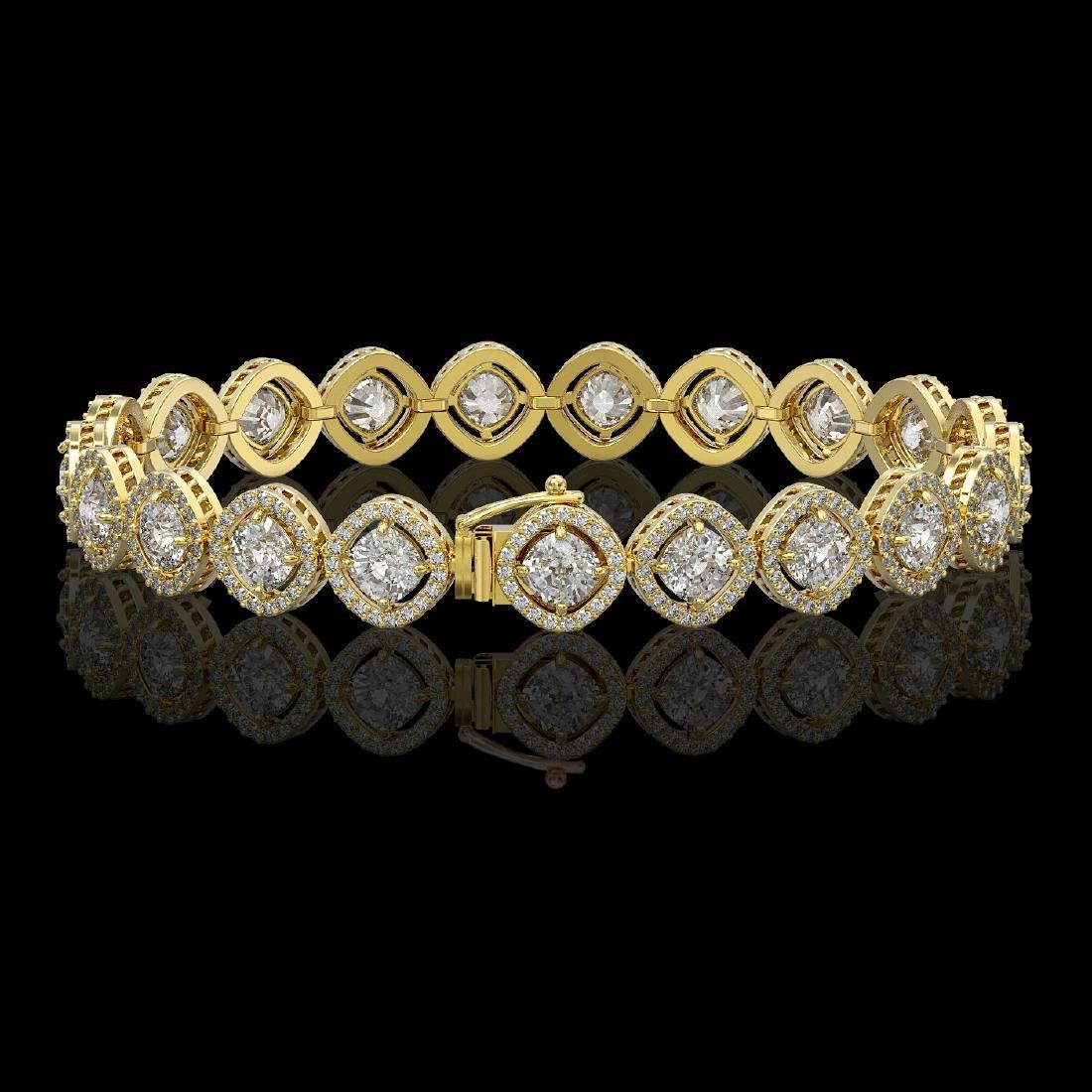 13.06 CTW Cushion Cut Diamond Designer Bracelet 18K - 2