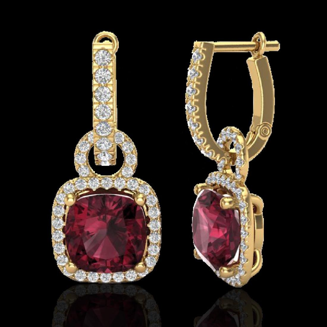 7 CTW Garnet & Micro Pave VS/SI Diamond Earrings 18K - 2