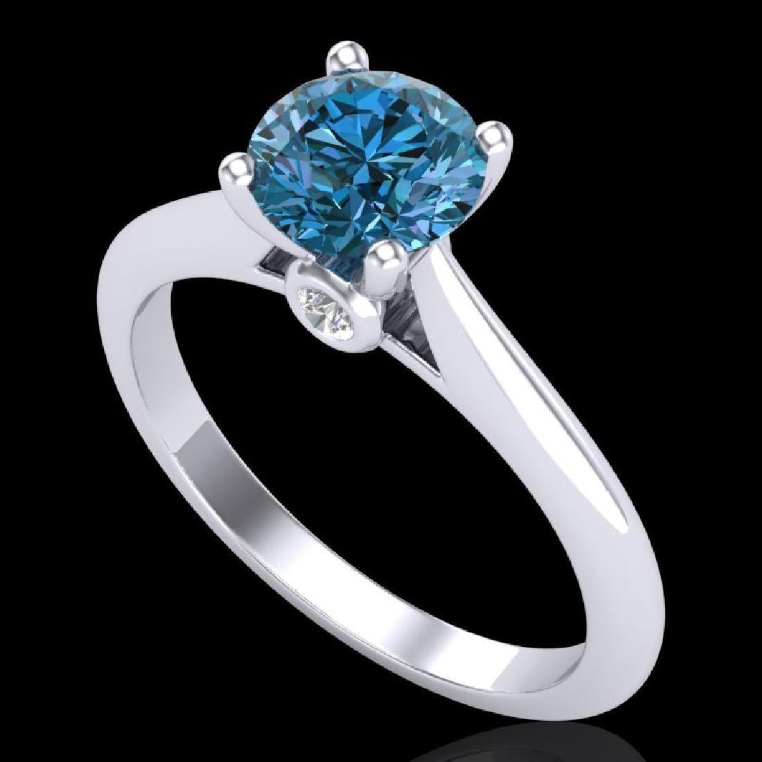 1.08 CTW Fancy Intense Blue Diamond Solitaire Art Deco