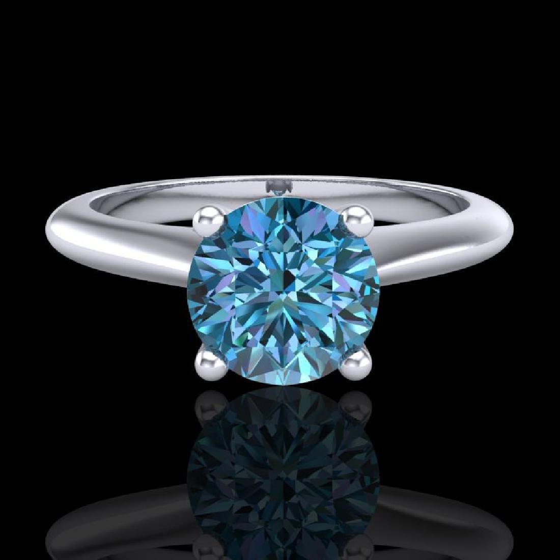 1.08 CTW Fancy Intense Blue Diamond Solitaire Art Deco - 2