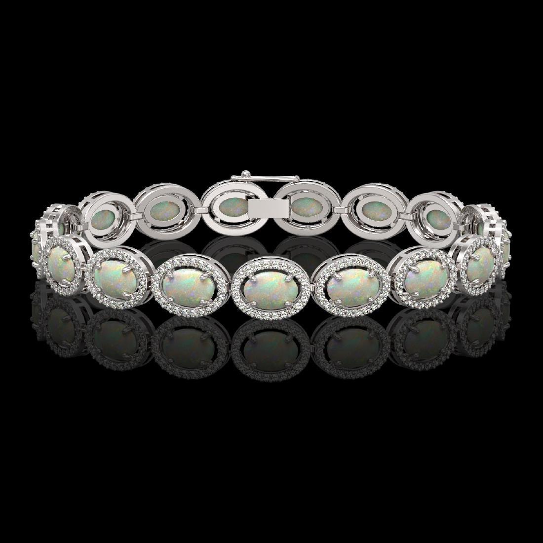 14.24 CTW Opal & Diamond Halo Bracelet 10K White Gold