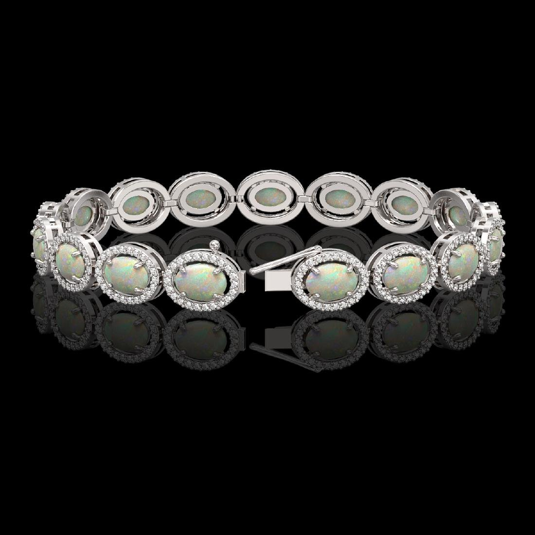 14.24 CTW Opal & Diamond Halo Bracelet 10K White Gold - 2