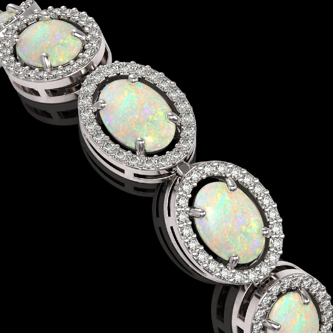 14.24 CTW Opal & Diamond Halo Bracelet 10K White Gold - 3