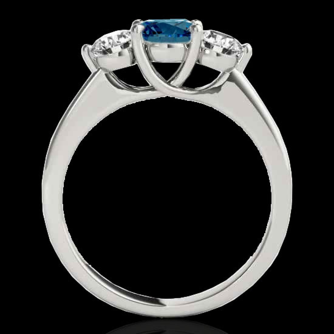 3 CTW SI Certified Fancy Blue Diamond 3 Stone Solitaire - 2