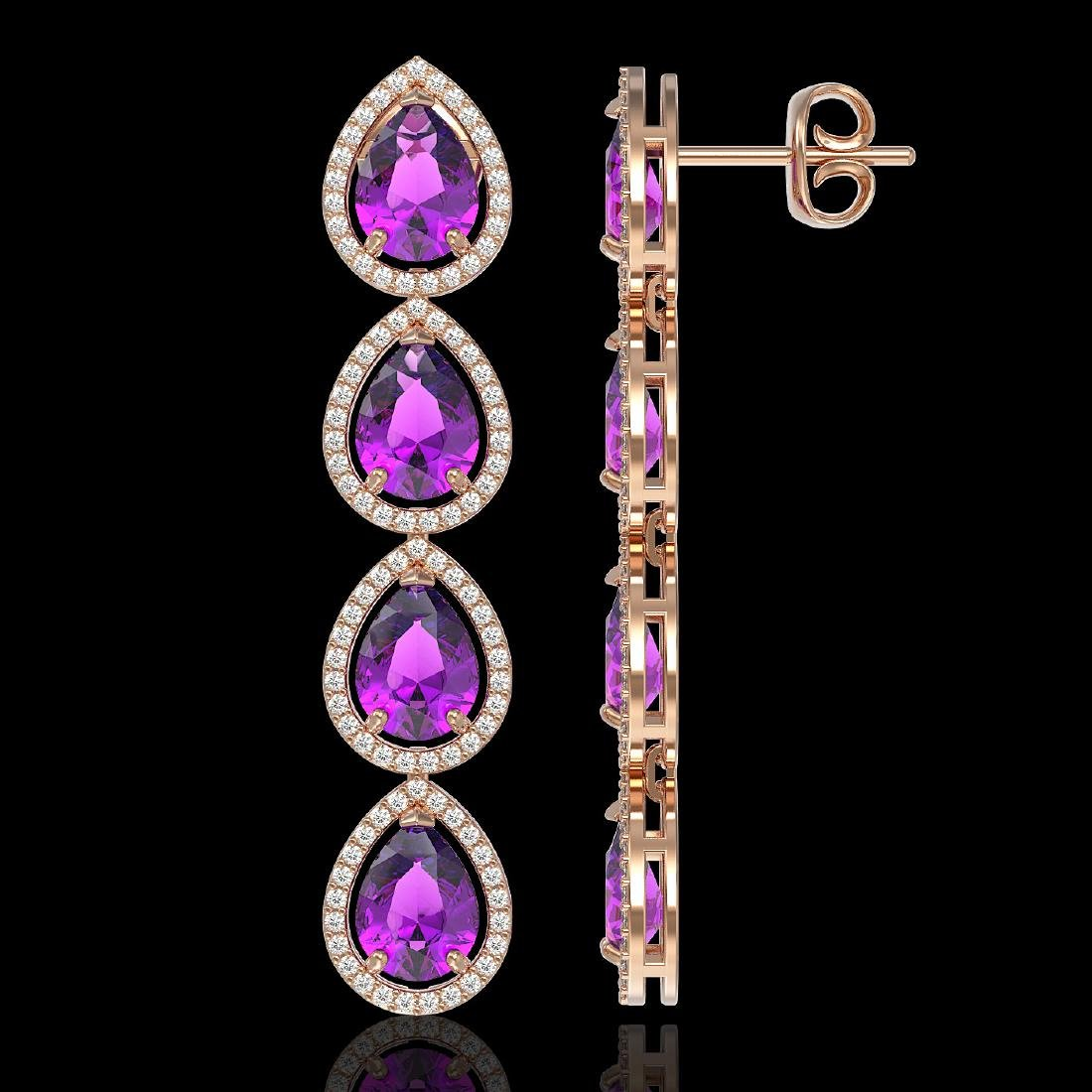 10.85 CTW Amethyst & Diamond Halo Earrings 10K Rose - 2